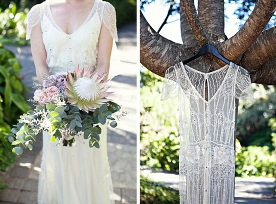 more than a little obsessed by this protea bouquet & jenny packham dress combo   Stephanie Veldman