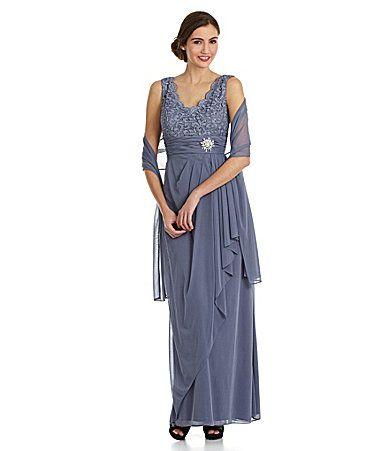 Cachet Lacebodice Dress With Matching Shaw Dillards 189