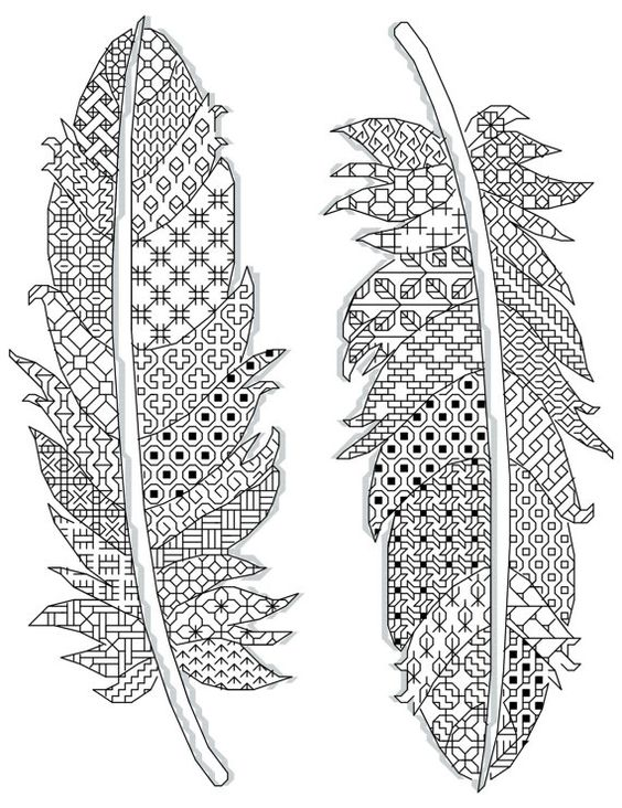 feathers pattern Blackwork 17 x 23 cm ( 14 count) 2 different colors www.borduurbloempje.be