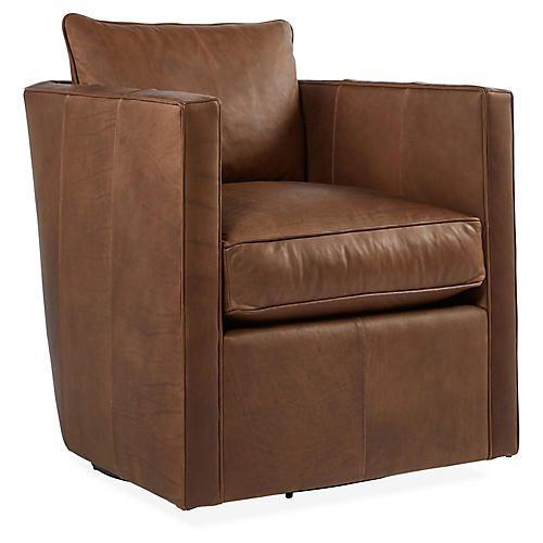 Rothko Swivel Chair Saddle Brown Leather Swivel Chair Chair Saddle Brown Leather Swivel chairs living room furniture