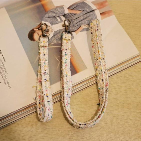 1 Set Tweed Strap Neck For Keys Id Card Holders Chain Lattice