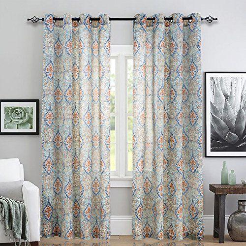Jinchan Medallion Linen Blend Curtains For Living Room 84 Inch