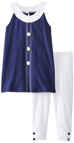 A.B.S. by Allen Schwartz Little Girls' Tiffany Set, Blue/White, 5. Blue top. White legging.