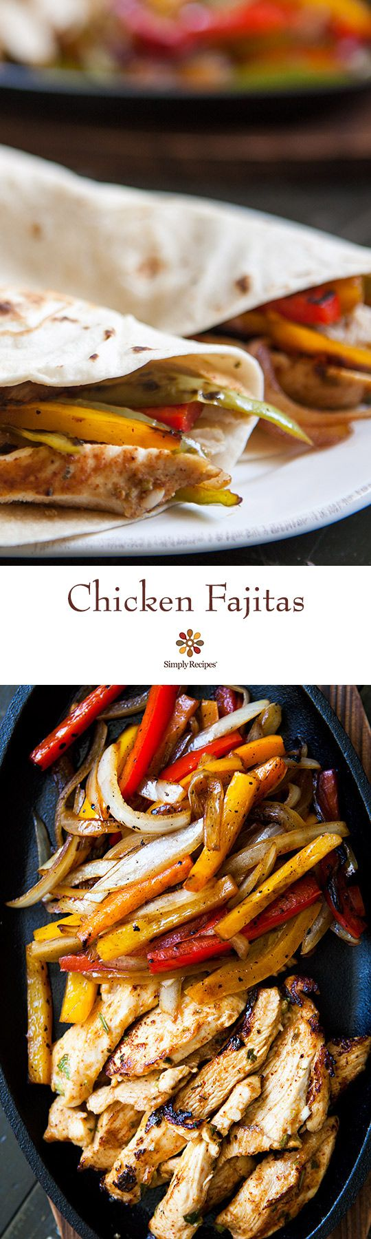 The BEST chicken fajitas! Marinated chicken breasts seared quickly and served with seared onions and bell peppers, and flour tortillas. On SimplyRecipes.com: