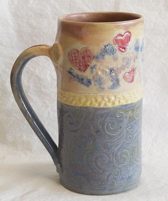 Stoneware 20oz heart ceramic coffee mug 20C039 by desertNOVA, $22.00