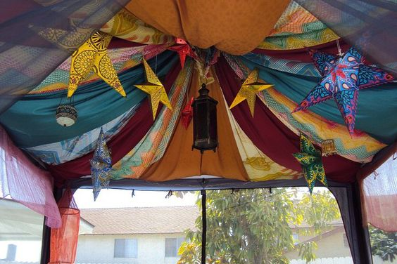 Tent ceiling fabric - I love this idea.  We need to do something about our TERRIBLE BRIGHT WHITE tent... LOL there are always a ton of interesting cottons running cheap as well as thriftstore finds (YAY SHEETS!).
