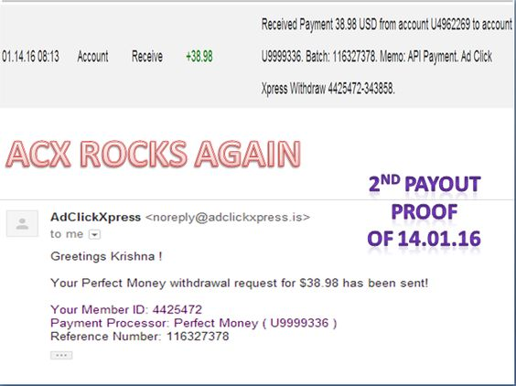 AdClickXpress is very powerful and simple to earn  - payment received form