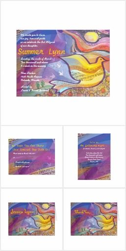 MUSICAL FLYING DOVE Bar or Bat Mitzvah Invitation