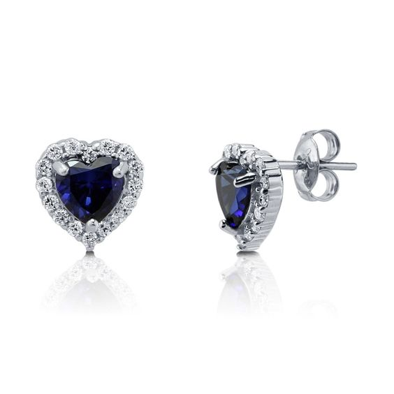 Heart Cut CZ Simulated Sapphire 925 Sterling Silver Halo Stud Earrings