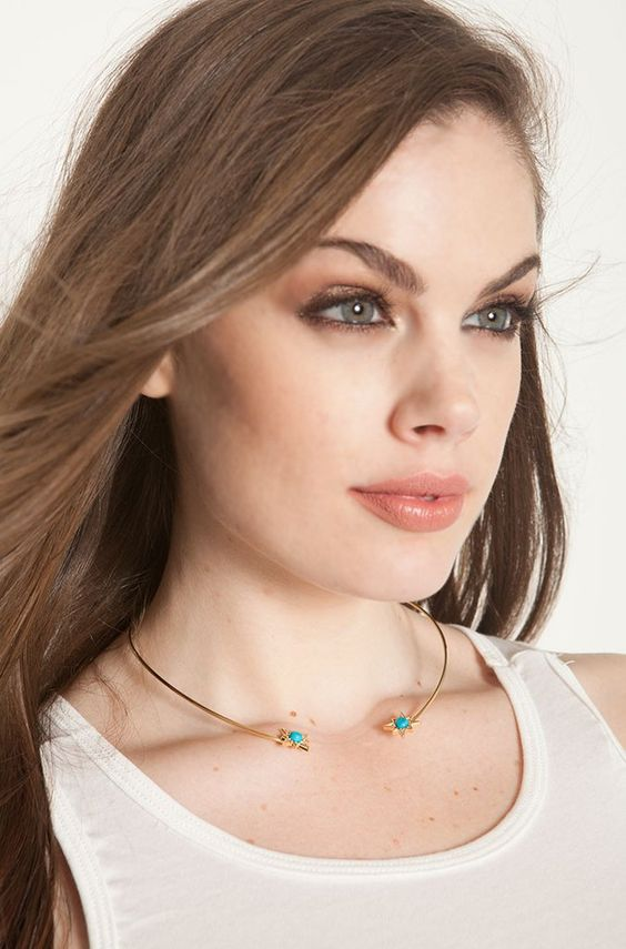 """Rebdolls """"Blue Star"""" Open Collar Necklace - Gold & Turquoise"""