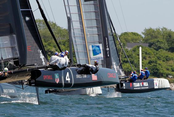Oracle Team USA Spithill (left) sails against Team Korea during the quarter-finals of the America's Cup World Series Newport Racing Championship in Newport, Rhode Island, on June 28, 2012.