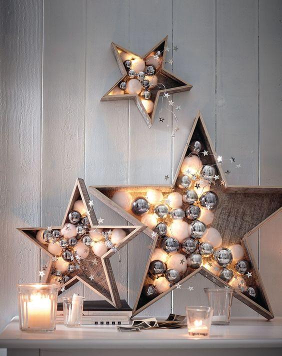 Beleuchteter Holzstern, weiß gewischt, LED, Batteriebetrieb   Weihnachtsbeleuchtung   Weihnachten