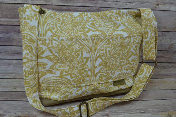 Camera bag in Mustard yellow Damask with Waterproof canvas base,Made in USA- Darby Mack   in stock