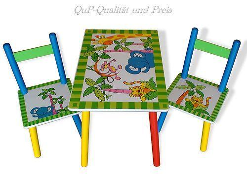 Kinder Sitzgruppe Kindertisch mit 2 Stühlen Kinderstuhl  Dschungel B-Ware