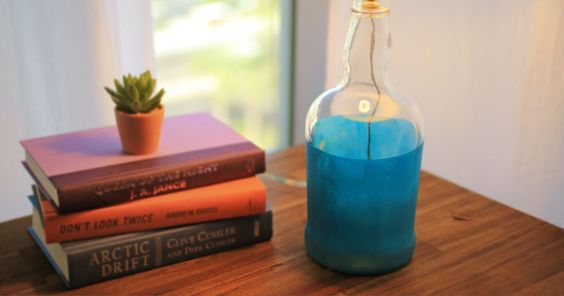 Glass bottle lamp - Everyday Dishes & DIY