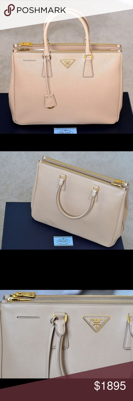 1bc34202d32 ... prada black leather handbags - Prada Saffiano Lux Double Zip ToteNWT    Triangle Logo, ...
