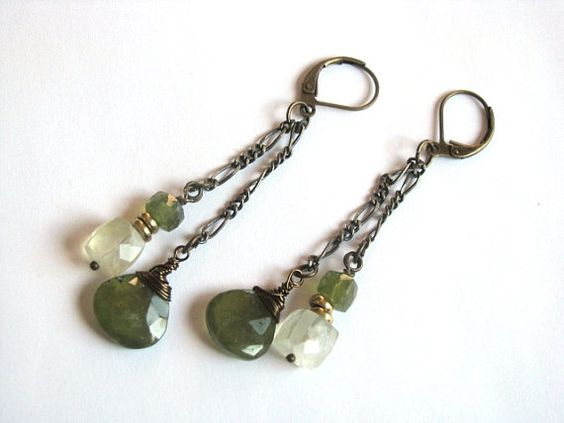 Vesuvianite and Prehnite Earrings in Antiqued Brass by saltyduck