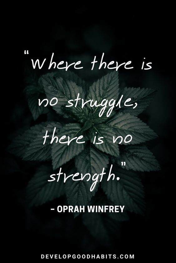 "Short Strength Quotes - ""Where there is no struggle, there is no strength"" – Oprah Winfrey Quote #inspirationalquotes #truth #personaldevelopment #selflove #quotesoftheday #motivationalquotes #qotd #quotes"