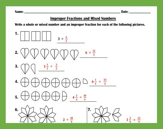Mixed Numbers And Improper Fractions Worksheet Teaching And Practice Improper Fractions Fractions Fractions Worksheets Subtracting mixed fractions worksheets