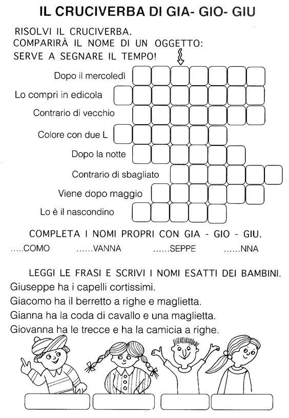 Gia gio giu ortografia primo ciclo pinterest for Parole con gio giu