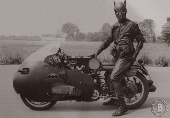 BATMAN on his BATCYCLE, 1950. by bassman5911