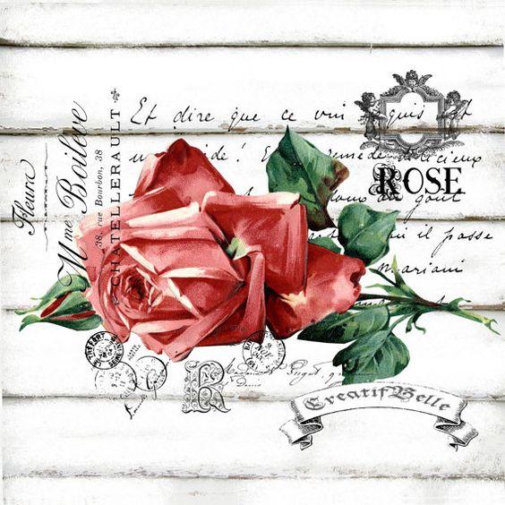 Victorian francês Rose Grande A4 Download imediato Digital para impressão gráfica chique Ferro Vintage em Tecido Transferência Cartão Etiqueta Decoupage: