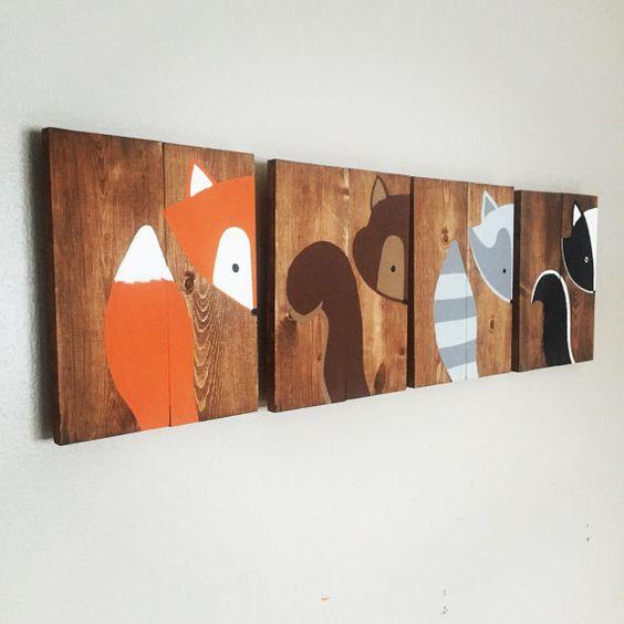 Cest un adorable ensemble de signes de créature des bois de mon « pointe une boo nursery collection » ces signes sont tous à la main dessiné
