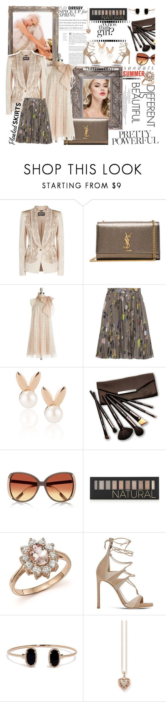 """Dressy lovely outfit with sexy sandals for the summer"" by carleen1978 ❤ liked on Polyvore featuring Just Cavalli, Yves Saint Laurent, Ryu, Moschino Cheap & Chic, Aamaya by priyanka, Borghese, River Island, Forever 21, Bloomingdale's and Stuart Weitzman"