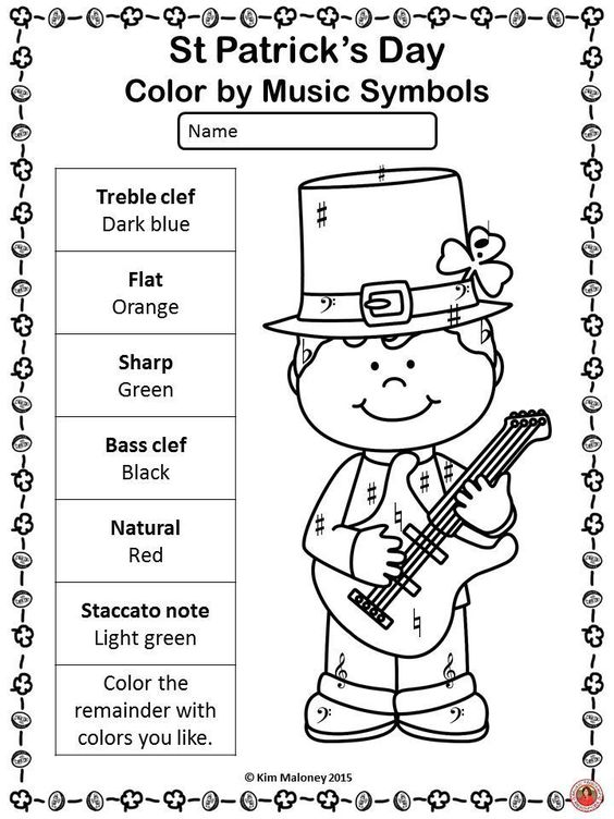 20 color by music notes and symbols with a St Patrick;'s Day theme!! Great for your sub tub.  ♫ CLICK through to view the set or save for later!  ♫