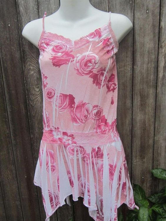 charlotte russe pink rosebud fairy hem lace trim woman top size small #CharlotteRusse #fairyhem #Casual