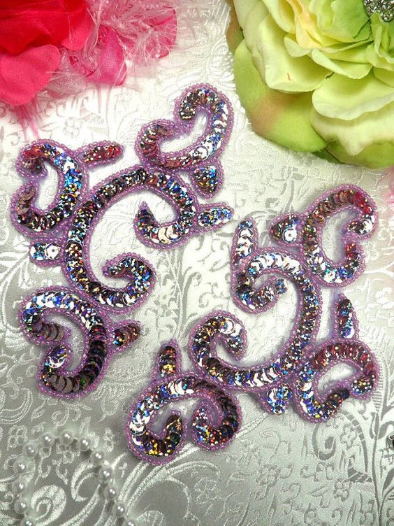 Appliques Mirror Pair Lavender Holographic Sequin Beaded    Measures: 6 x 3.5 each    You are buying a pair.     This applique pair is great for