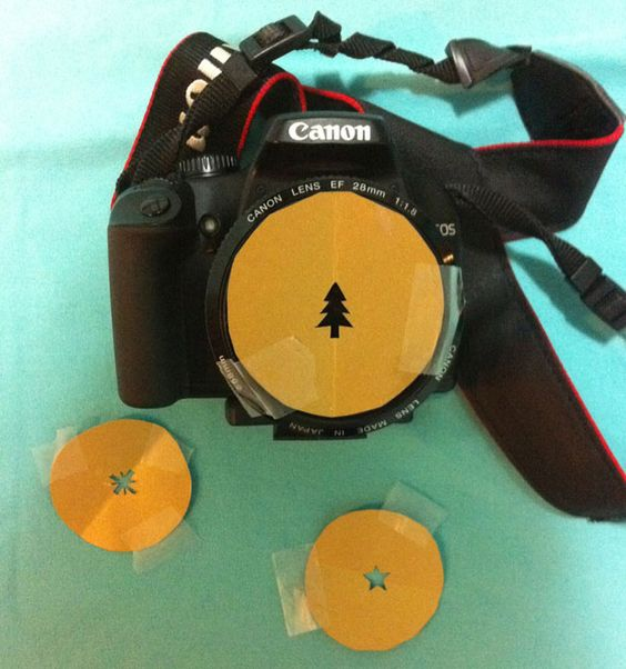 """Place a """"stencil"""" of a shape over the camera lens and click away...so cool ... definitely have to try @Annie Stipek"""