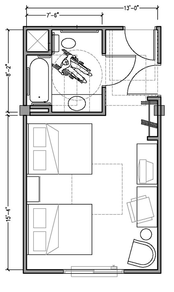 Plan 1b Accessible 13 Ft Wide Hotel Room Based On 2004