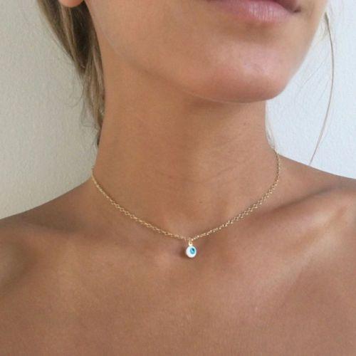 Silver eye choker simple choker delicate choker necklace