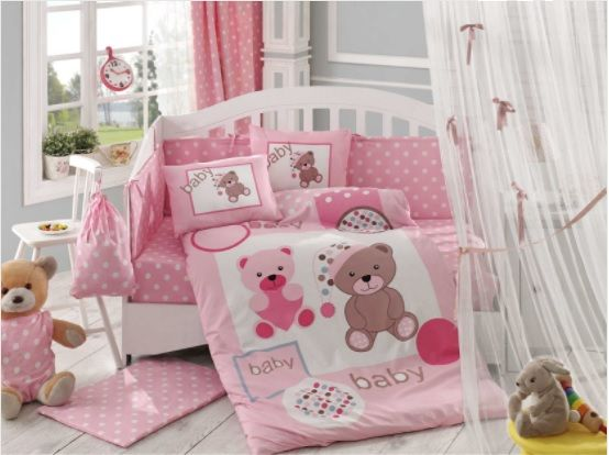 BABY GIRL NURSER BABY COT-COT BED SET BUMPER+COVERS+DUVET+MORE BOY TEDDY MOON