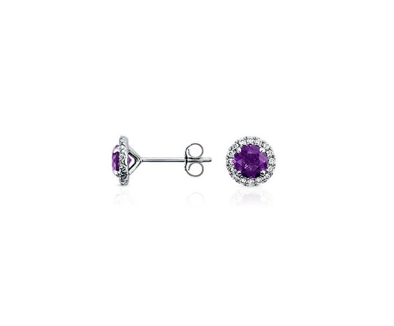 Amethyst and Micropavé Diamond Earrings in 18k White Gold (5mm) | Blue Nile