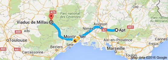 Apt France Map.Map From Apt France To Viaduc De Millau 12400 Millau France 2