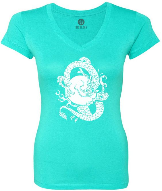 Dragon and the Sun (White) Women's Short-Sleeve V-Neck T-Shirt