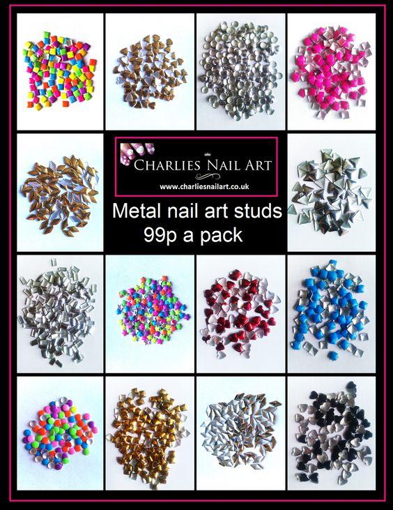 Metal nail art studs 99p a pk http://www.charliesnailart.co.uk/metal-studs/