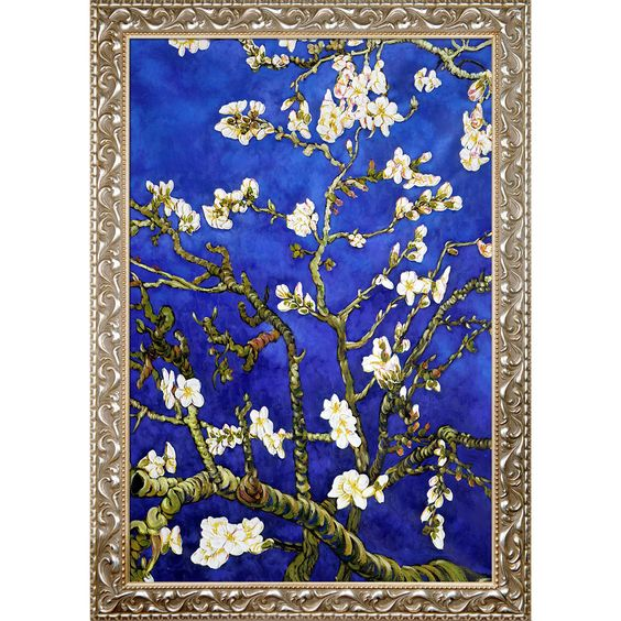 La Pastiche Original 'Branches Of An Almond Tree In Blossom, Blue' Hand Painted Framed Art