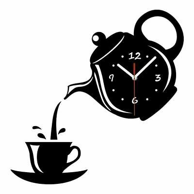 New Wall Clock Coffee Cup Shaped Living Room Decorate Kitchen Clock Applied