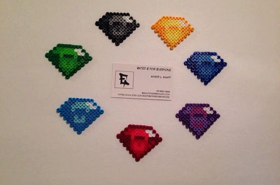 Chaos Gems Perler Bead Sprites by RatedEforEveryone on Etsy