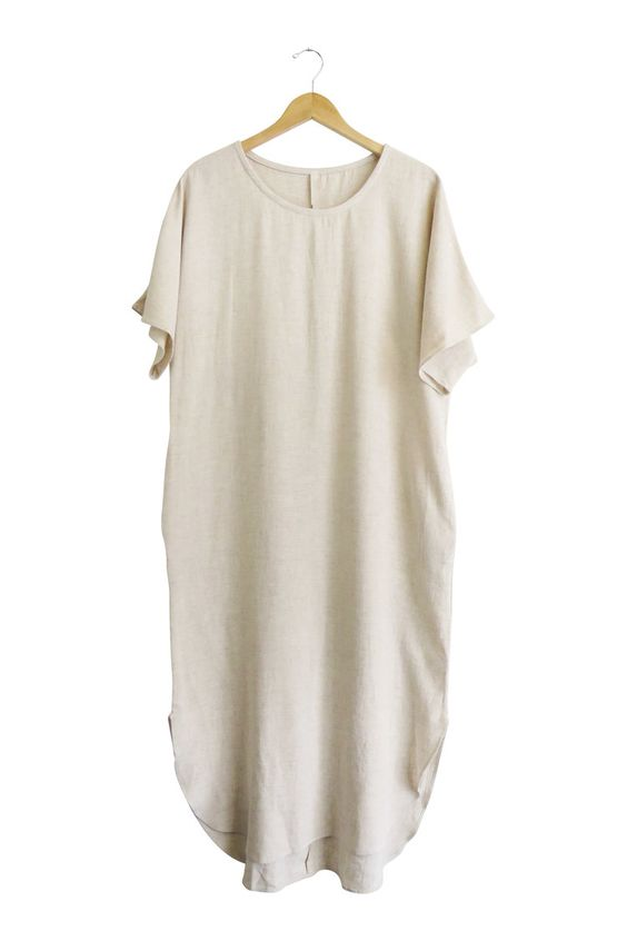 Fall Linen Dress in Natural   ROOLEE