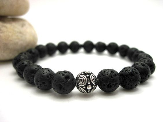 Black Lava Rock and Silver Scroll Bead Energy by Buddhabliss