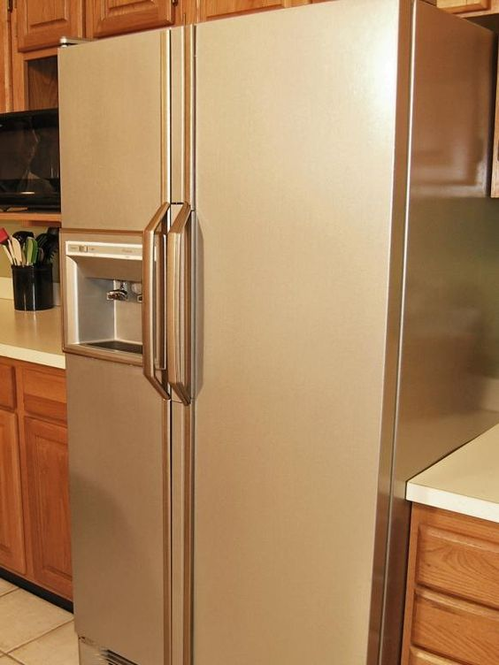 How To Paint A Refrigerator Stainless Steel Stainless Steel Paint Painting Appliances Outdoor Kitchen Appliances
