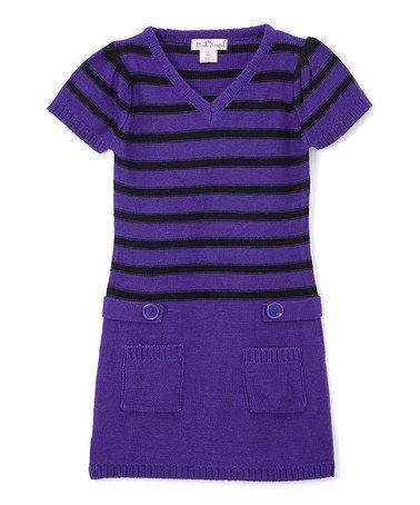 Loving this Night Shade & Black Stripe Tab-Waist Dress - Kids & Tween on #zulily! #zulilyfinds