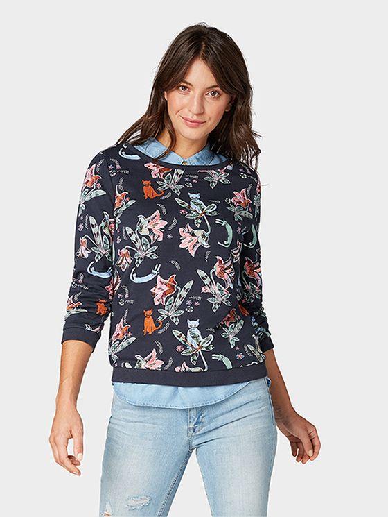 Floral Patterned Sweatshirt Women Navy Flower Cat Alloverprint Sweatshirts Women Sweatshirts Pattern Sweatshirts
