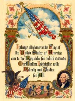 """The original Pledge of Allegiance was written in August 1892 by the baptist minister Francis Bellamy. Bellamy had hoped the pledge would be used by citizens in any country. It originally contained the phrase """"my flag."""" This caused concern that some would pledge to the flag of their native countries, so in 1923 the words """"the Flag of the United States of America"""" were added. In 1954, President Eisenhower encouraged Congress to add the words """"under God,"""" creating the pledge we say today."""