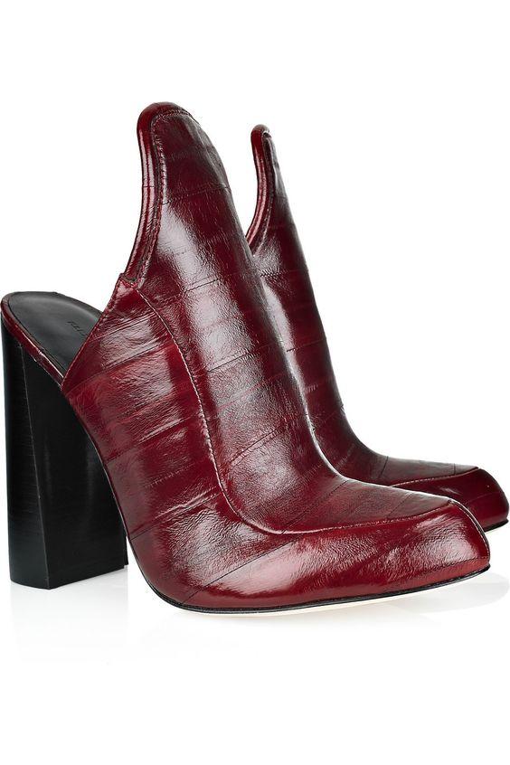 Alexander Wang Bette Eel Merlot Mules Slipper Heels Shoes