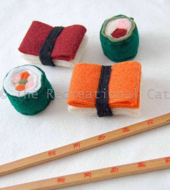 Felt sushi cat toys with catnip inside could easily diy for Felt cat toys diy